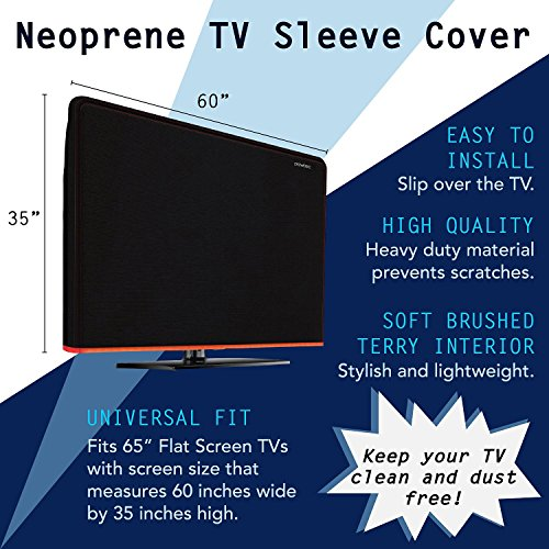 Heavy Duty TV Cover - Full Body Neoprene Protection Sleeve - Fits 65-inch LED  OLED  LCD  and Plasma Televisions  65-inch