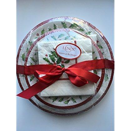 Lenox Holly Einweg Pappteller und Servietten Geschenk Set ~ 56Stück ~ Service für 8 - Urlaub Lenox
