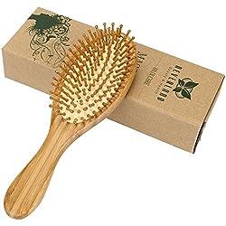 Neverland Brosse à Cheveux en Bois Antibactérienne Anti-Statique Massage avec 3 Picots de Rechange et Boîte à Cadeaux