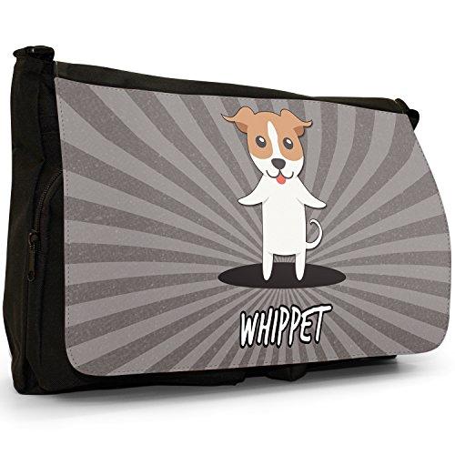 English Cartoon cani grande borsa a tracolla Messenger Tela Nera, scuola/Borsa Per Laptop Whippet, Snap Dog