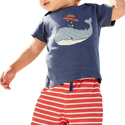 Transer Neugeborenen Baby Jungen Mädchen Cartoon Wal Tops Shirt + Hosen Outfits Set (110) Adorable Set Hose