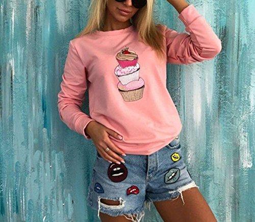 Freestyle Imprimé Crème Glacée Pulls T Shirt Blouse Tops Casual Longue Manche Hauts Chemisiers Sweats Col Rond Sweat-Shirts Automne Hiver Femme Rose