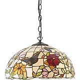 HAUSELIEBE 12 Pollici Tiffany Stile Lampadari, Modello Farfalla Fiore Lampade A Sospensione Tondo Colore Creativo Dipinto Vet