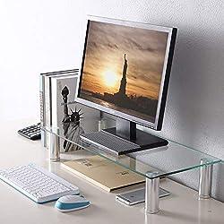 TAVR Furniture Gehärtetes Glas Computer Monitor Podes Monitorständer Notebookständer Laptopständer Computertisch,Bildschirmständer 600 x 260 mm CM2001