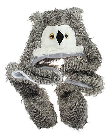 Lukis Long Plush Faux Fur Head Trapper Hat Hood Scarf Snood Gloves All In One Owl