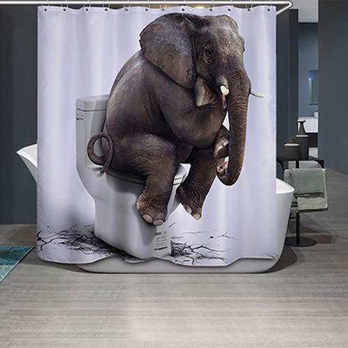 Huhuswwbin71 x 183 cm 3D Tier-Elefant Bedruckter Badezimmer Duschvorhang mit 12 Haken