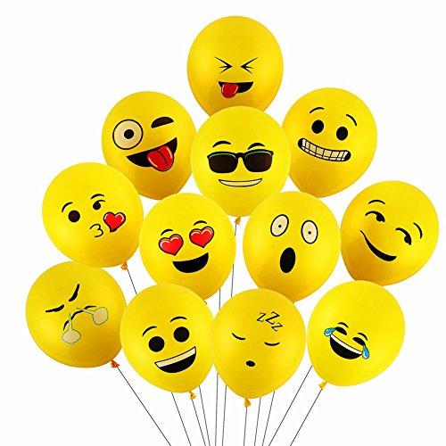 emoji luftballon Yizhet Balloons Luftballons Verschiedene Miene Laune Ballons Smiley Gesicht Ballons Heliumballons Deko für Geburtstagsfeier Hochzeit Party Veranstaltungen Dekoration (100x Latex Ballons)