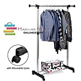 HARIVAR MART Stainless Steel Portable Single Pole Telescoplc Clothes Rack, Foldable Single Clothes