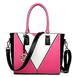 Miss Lulu Leather Look V-Shape Shoulder Handbag (Plum)
