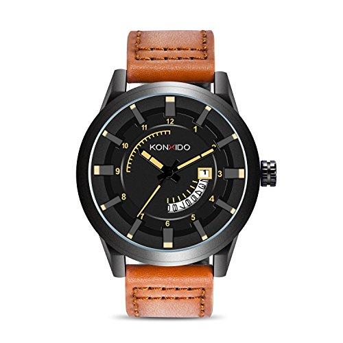 KONXIDO Business Casual Series Herren Quarz Kalender Uhr mit braunem Zifferblatt analog Display und Luxus echtes Lederarmband-Mode Design Kleid Uhr 3ATM wasserdicht mit Edelstahl-Gehäuse
