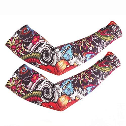 YFFSS Armstulpen, Armstulpen UV-Schutz für Männer Frauen Jugend Armstütze für Radfahren Golf Baseball Basketball Sport Tattoo Cover Arm Kompression Ärmel - Sonnencreme Ice Sleeve Ice Silk Sleeve -