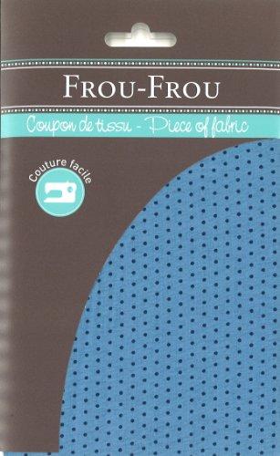 Frou-Frou 4606 0 410 - Scampolo di tessuto in cotone, motivo: pois blu su sfondo azzurro, 50 x 50 cm