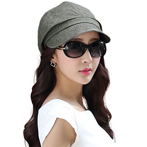 SIGGI graue Baumwolle Zeitungsjunge Mütze Barett Maler Mütze Für Frauen Mit Visor Baskenmütze Schirmmütze für Ganzes Jahr