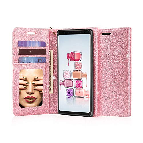 J&D Compatible para Samsung Galaxy Note 9 Case, [Brillante] [Mirror Function] [RFID Blocking] Brillante Heavy Duty Shock resistente Flip Cover Wallet Case con ranuras para tarjetas y espejo de aumento