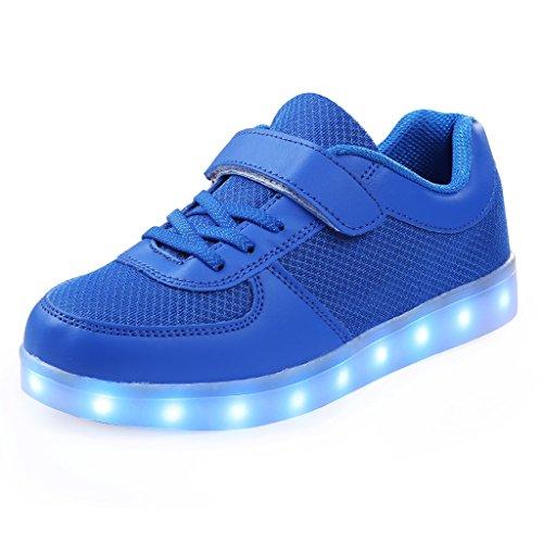 SAGUARO® 7 Farben Unisex Kind LED leuchten Sport Laufschuhe Luminous Flashing Glow Turnschuhe Studententanz Stiefel Blau