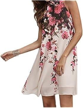 Vestidos cortos casuales de verano,VENMO Mujer florales cuello redondo corte bohemio vestido sin mangas
