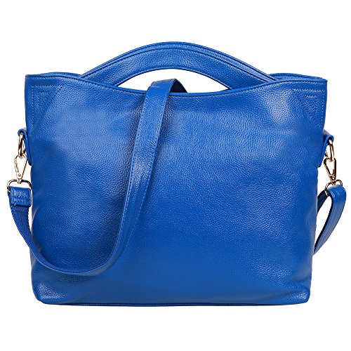 EGOGO Einkaufstasche Split Leder Umhängetasche Damen Handtasche Klassische Leder Umhängetasche Blau