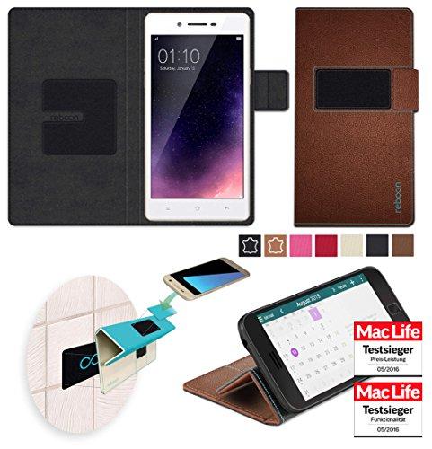 reboon Hülle für Oppo Neo 7 Tasche Cover Case Bumper | Braun Leder | Testsieger
