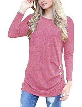 Mujer Camiseta Top de Manga Larga Blusa Tops otoño invierno Casual Ropa con Botón