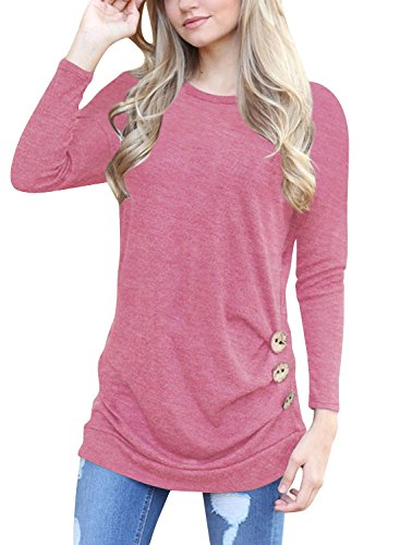 Lylafairy Langarm Oberteile, Damen Herbst Sweatshirt Rundhals Elegant Casual T-Shirt Tops mit Zierknöpfe (Rosa, 42) (Langarm T-shirt Top Hat)