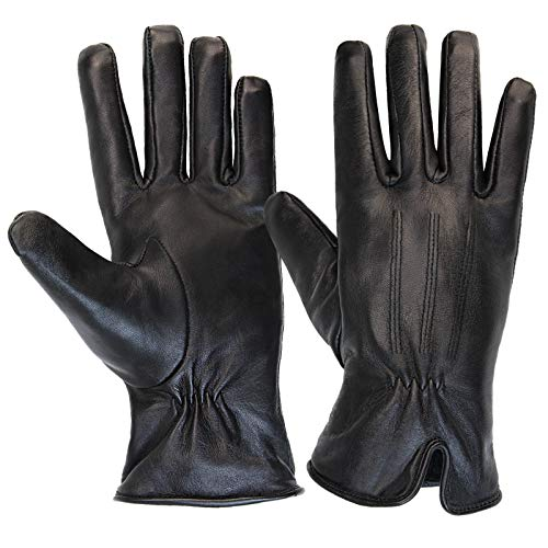 ALPIDEX Guantes de piel para mujer Guantes de invierno Guante de cuero genuino disponible en diferentes tamaños, Tamaño:S, Color:black