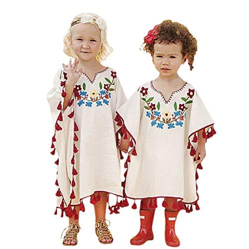 Cuteelf Mädchen Langarm Kind Baby Mädchen Kleinkind Blume Fringe Leinen Kimono Strand bedeckt Kaftan Kleidung Kinder Kurzarm Strand vertuschen Fringe Kimono