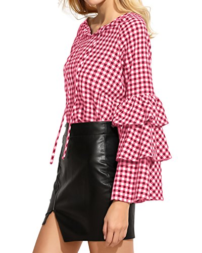 StyleDome Damen Zerzauste Lotus Hülse Lange Ärmel Karo Crew Neck Loch Tops Shirts Rot670478