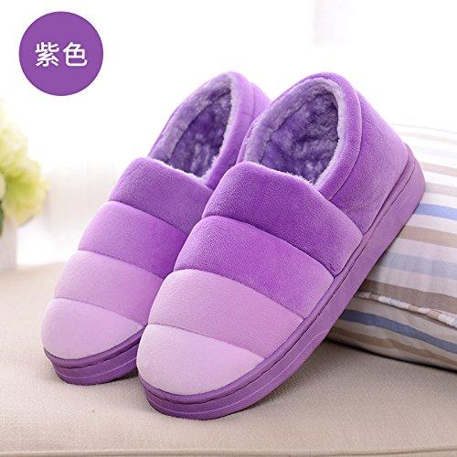 DogHaccd pantofole,Inverno uomini e donne paio di pantofole di cotone confezione con il calore di casa interno con spessore, antiscivolo pantofole di peluche La porpora3