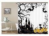 Gnzoe Polyester Bad Vorhang Halloween Kürbis Fledermaus Katze Muster Design Badewanne Vorhang Bunt für Badezimmer/Badewanne 180X180CM