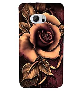 Fuson Premium Artistic Rose Printed Hard Plastic Back Case Cover for HTC M10