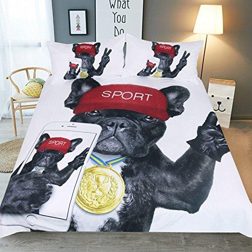 ktlrr Bettbezug Sets Single Größe, 3D Digital bedruckt Selfie Hund Muster Schlafzimmer Decor Kinder Teens Jungen Geschenk, 3Betten-Sets mit 2Kissenhüllen je keine Tröster, hund, King(230x220cm,3pcs)
