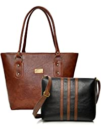 Mammon Women's Multicolor Handbag And Sling Bag Combo - Hs-Combo-3Striptb, Multicolor
