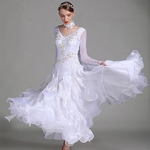 ZTXY Moderne Dame Große Pendel Hand Stickerei Modernen Tanz Kleid Mit Armband Tango Und Walzer Tanz Kleid Tanzwettbewerb Rock Lange Ärmel Strass-Tanz-Kostüm,White,XL
