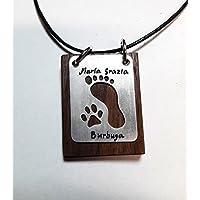 Ciondolo in Alluminio con la impronta del piede umano e la zampa di cane, su legno di noce o mogano - con il nome del cucciolo e del proprietario.