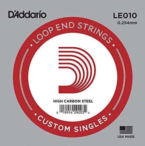 D'Addario LE010 Plain Steel Saiten mit Loop-End 0,02 cm (,010 Zoll) Einzelsaite Loop End-e-saite