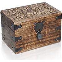Caja de madera con candado de BRYNNBERG |Cofre del tesoro pirata de estilo vintage | Hecha a mano | Diseño retro |