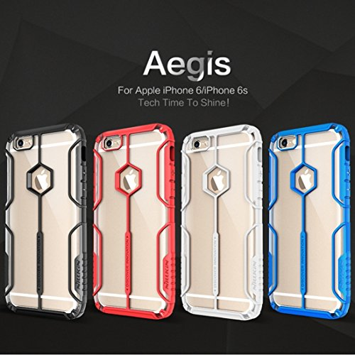 iPhone Case Cover NILLKIN Aegis Series pour iPhone 6 & 6s Battle Suit Forme Colorized TPU + Transparent PC Coque arrière de protection ( Color : White ) Red