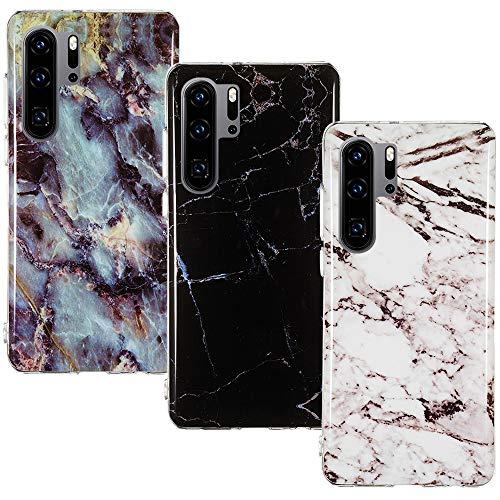 CLM-Tech Hülle 3X kompatibel mit Huawei P30 Pro, TPU Silikon-Hülle Case Schutzhülle Handyhülle 3er Set, Marmor schwarz weiß Mehrfarbig