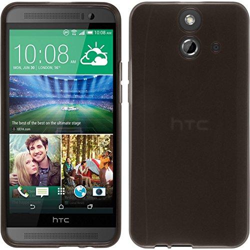 PhoneNatic Case kompatibel mit HTC One E8 - schwarz Silikon Hülle transparent + 2 Schutzfolien