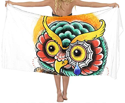 xcvgcxcvasda Badetuch, Soft, Quick Dry, Classic Women Grumpy Wise Owl Chiffon Pareo Beach Wrap Scarf for Vacation,Non-Toxic Decor - Club-formel Sams