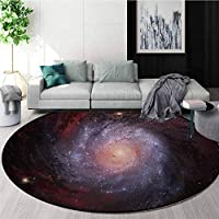 RUGSMAT Galaxy Print Area Rug,Spaceship In Interstellar Travel On A Galactic Starfield Alien Fantasy Science Fiction Perfect For Any Room,Floor Carpet,Black