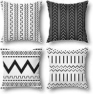 Wyooxoo أغطية وسائد تزيينية مجموعة من 4، 18 × 18، أغطية وسادات أريكة مربعة مصنوعة من قماش الكتان، للسرير، الأر