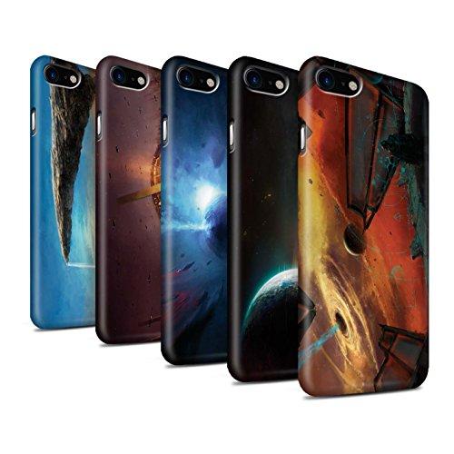 Offiziell Chris Cold Hülle / Matte Snap-On Case für Apple iPhone 7 / Schwarzes Loch Muster / Galaktische Welt Kollektion Pack 6pcs