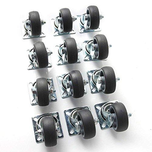 50mm Transportrollen Lenkrollen Schwerlastrollen Apparaterollen 40 kg Pro Rolle Polypropylen Stahlblech, Verzinkt Hellgrau (12 PCS)