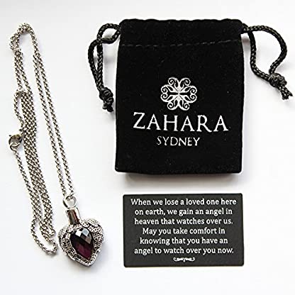 Zahara Pet Memorial Urn Necklace (20 Inches) with Velvet Pouch & Funnel | Angel Heart Amethyst Pendant + Chain 4