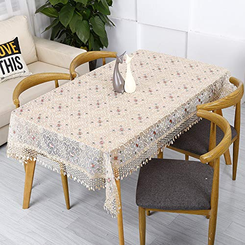 songcloth Abwaschbar Tischdecke Rechteck, Leinen Tischtuch, Weiß Rustikal, Tisch/kaffeetisch/Garten/Party 140x250cm -
