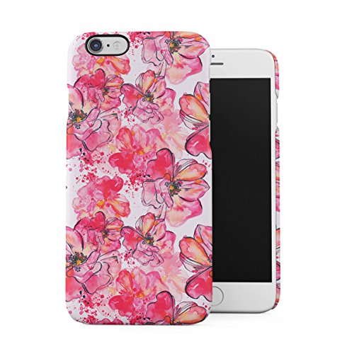 Vintage Floral Flowers Polka Dots Pattern Indie Tumblr Boho Shabby Chic Apple iPhone 6 PLUS , iPhone 6S PLUS Snap-On Hard Plastic Protective Shell Case Cover Custodia Pink Waterpaint
