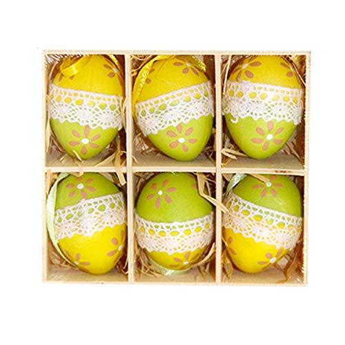 ngff Deko Ostern 6 Ostereier mit Aufhänger im Set zum Dekorieren mit Band zum Aufhängen Pastell Set Gelb Mehrweg Verpackung Oster-Deko (Mehrfarbig, 6PCS) ()