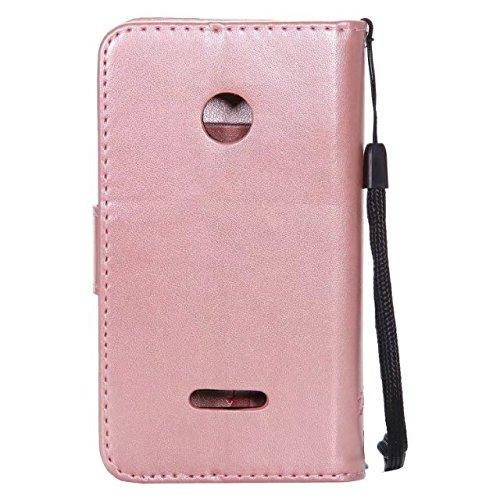 Nokia Lumia N435 Case, Embossing gepresst Blumen Katze und Baum Muster Solid Color PU-Leder Tasche weichen Silikon-Cover Flip-Stand Geldbörse mit Lanyard für Nokia N435 ( Color : 13 , Size : Nokia N43 3