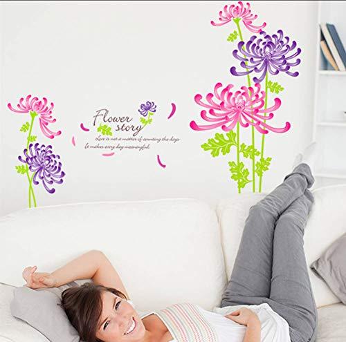 Fantasie Chrysantheme Wandaufkleber Pvc Material Diy Blumen Wandtattoos Für Wohnzimmer Sofa Hintergrund Dekoration (Tube Fantasy Junge)
